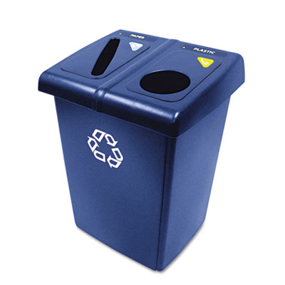Glutton Recycling Station, Rectangular, Plastic, 46gal, Blue