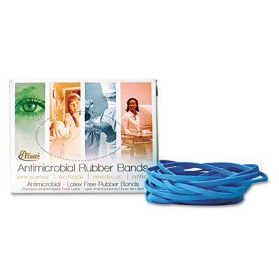 Non Latex Antimicrobial Cyan Blue Rubber Bands, Size #117B, 7 x