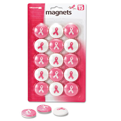 "Breast Cancer Awareness Magnets, Pink/White, 1 1/8"" Dia., 15/Pac"