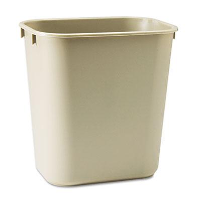 Deskside Plastic Wastebasket, Rectangular, 3.5gal, Beige