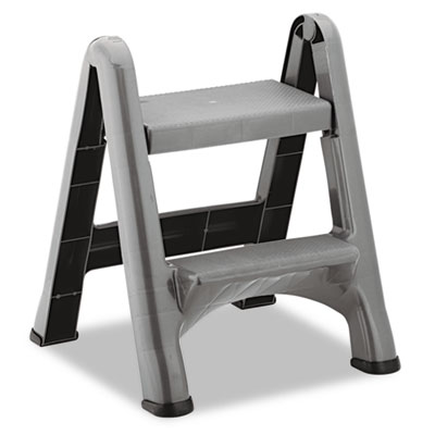 2-Step Folding Plastic Step Stool, 300lb Cap, Dark Gray