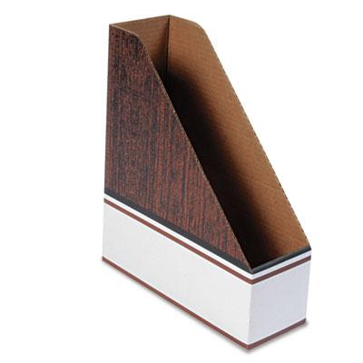 Corrugated Cardboard Magazine File, 4 x 11 x 12 3/4, Wood Grain,