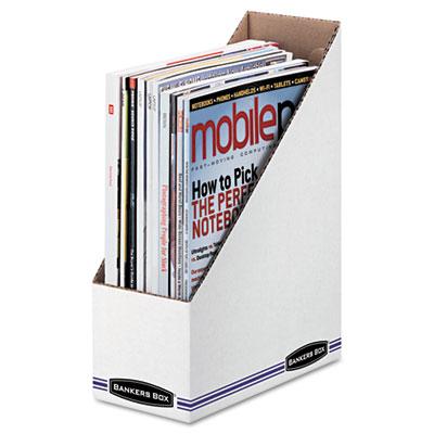 Corrugated Cardboard Magazine File, 4 x 9 1/4 x 11 3/4, White, 1
