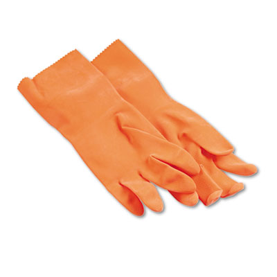 Flock-Lined Latex Cleaning Gloves, Large, Orange, 12 Pairs