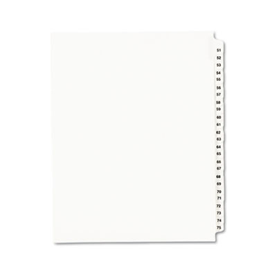 Avery-Style Legal Side Tab Divider, Title: 51-75, Letter, White,