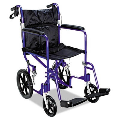 Excel Deluxe Aluminum Transport Wheelchair, 19 x 16, 300lb Cap