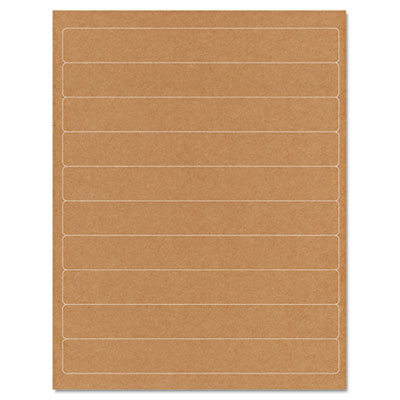 Brown Kraft Printer Labels, 1 x 8, Permanent Adhesive, 250/Pack