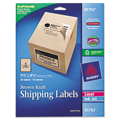 Brown Kraft Shipping Labels, 5 1/2 x 8 1/2, 20/Pack