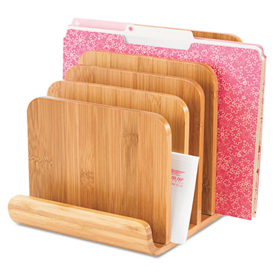 Bamboo Wood Organizer, Five Sections, 8 x 10 x 9, Natural