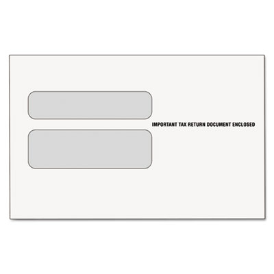 Double Window Tax Form Envelope for W-2 Laser Forms, 9x5-5/8, 50