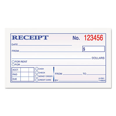 Money and Rent Receipt Books, 2-3/4 x 4 7/8, 2-Part Carbonless,