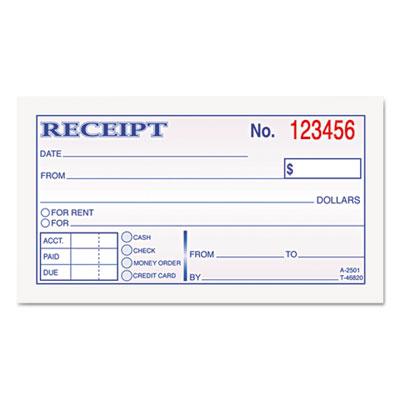 Money and Rent Receipt Books, 2-3/4 x 4 7/8, 2-Part Carbonless,
