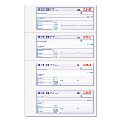 Money and Rent Receipt Books, 2-3/4 x 7 1/8, Two-Part Carbonless