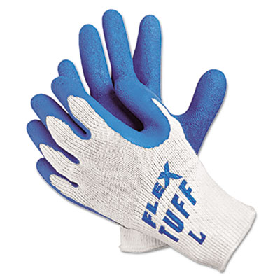 FlexTuff Latex Dipped Gloves, White/Blue, Large, 12 Pairs