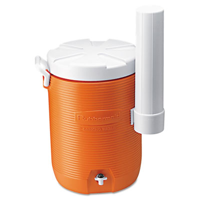Insulated Beverage Container with Cup Dispenser, 5gal, Orange/Wh