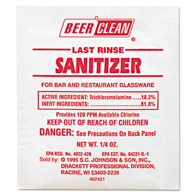 Beer Clean Last Rinse Glass Sanitizer, Powder, .25oz Packet, 100
