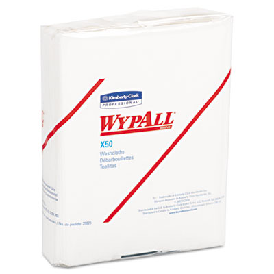 WYPALL X50 Wipers, 10 x 12 1/2, White, 26/Pack, 32 Packs/Carton