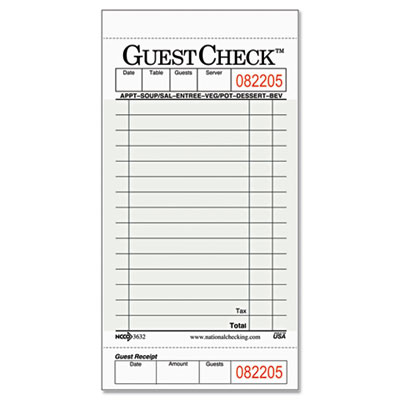 Guest Check Pad with Customer Receipt Stub, 3 1/2 x 6 3/4, 50 Ch