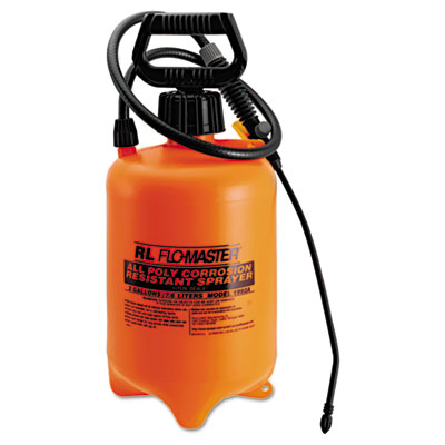 Acid-Resistant Sprayer, Wand w/Nozzle, 2gal, Polyethylene, Orang