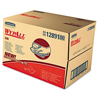 WYPALL X90 Cloths, Industrial, 11 1/10 x 16 4/5, White, 136/Box