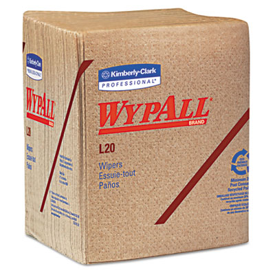 WYPALL L20 Wipers, 12 1/2 x 13, Brown, 68/Pack, 12 Packs/Carton