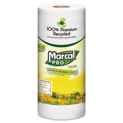 100% Premium Recycled Towels, 2-Ply, 11 x 9, White, 70/Roll, 30