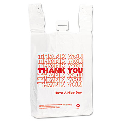 T-Shirt Thank You Bag, 12 x 7 x 13, 14 Microns, White, 500/Carto