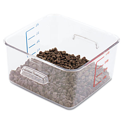 SpaceSaver Square Containers, 4qt, 8 4/5w x 8 3/4d x 4 3/4h, Cle