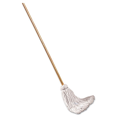 "Deck Mop; 48"" Wooden Handle, 12oz Cotton Fiber Head, 6/Pack"