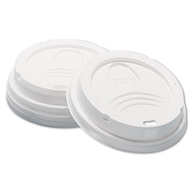 Dome Hot Drink Lids, 8oz Cups, White, 100/Sleeve, 10 Sleeves/Car