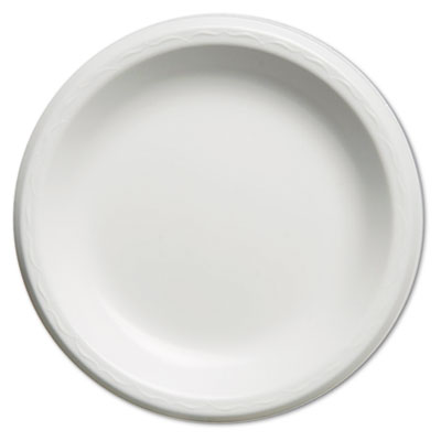 Elite Laminated Foam Plates, 8.88 Inches, White, Round, 125/Pack