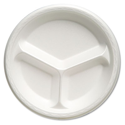 "Foam Dinnerware, Plate, 3-Comp, 10 1/4"" dia, White, 125/Pack, 4"