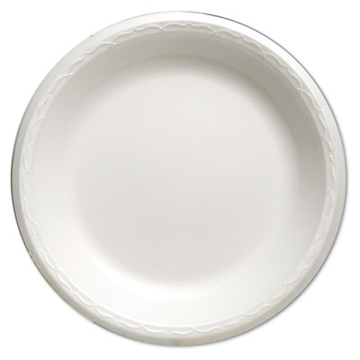 "Foam Dinnerware, Plate, 10 1/4"" dia, White, 125/Pack, 4 Packs/Ca"