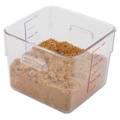 SpaceSaver Square Containers, 6qt, 8 4/5w x 8 3/4d x 6 9/10h, Cl