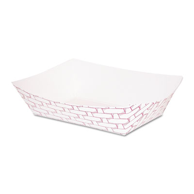 Paper Food Baskets, 16oz Capacity, Red/White, 1000/Carton
