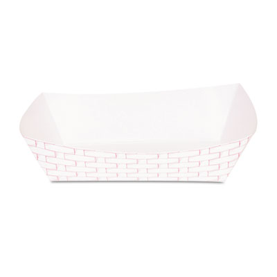 Paper Food Baskets, 5lb Capacity, Red/White, 500/Carton