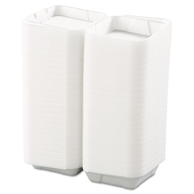 Snap-it Foam Hinged Lid Containers, 1-Comp, 8 x 8 x 3, White, 20