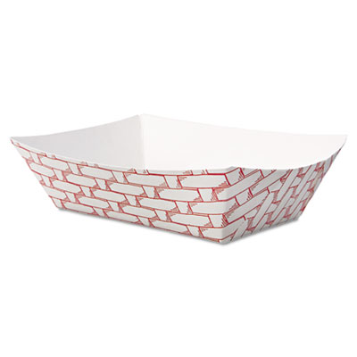 Paper Food Baskets, 8oz Capacity, Red/White, 1000/Carton