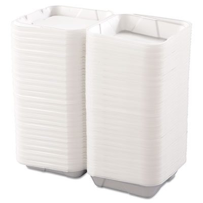 Snap-it Foam Hinged Lid Containers, 1-Comp, 9 1/4 x 9 1/4 x 3, W