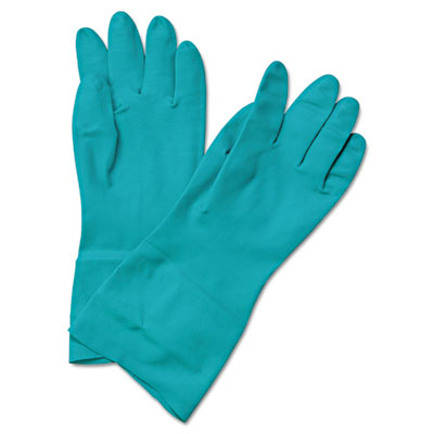 Flock-Lined Nitrile Gloves, Medium, Green, 13 in, Dozen