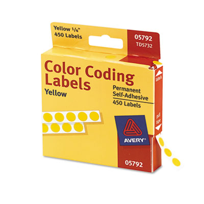 Permanent Self-Adhesive Color-Coding Labels, 1/4in dia, Yellow,