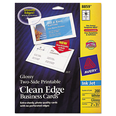 Two-Sided Clean Edge Business Cards, Inkjet, 2 x 3-1/2, Glossy W