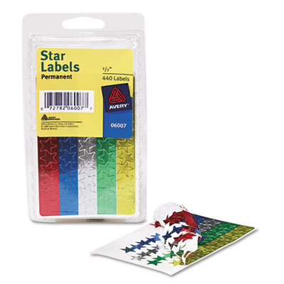 "Self-Adhesive Assorted Color Foil Stars, 1/2"" dia, 440/Pack"