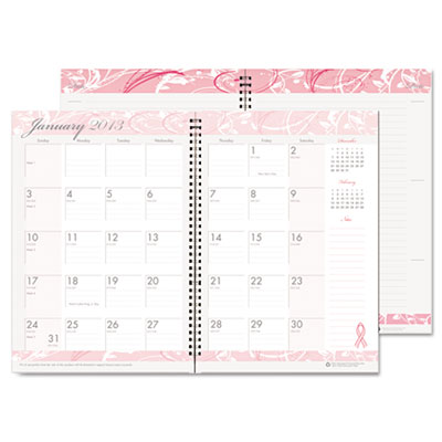 Breast Cancer Awareness Monthly Planner/Journal, 7 x 10, Pink, 2