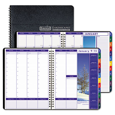 Earthscapes Executive Hardcover Weekly/Monthly Planner, 8-1/2 x
