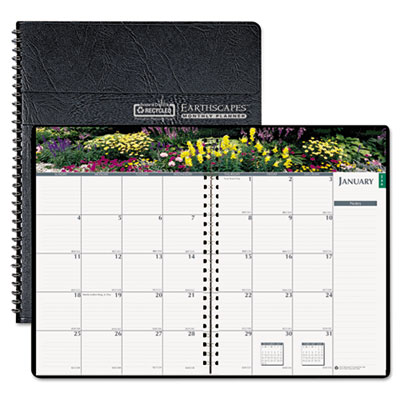 Gardens of the World Ruled Monthly Planner, 7 x 10, Black, 2015