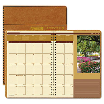 Landscapes Full-Color Monthly Planner, Ruled, 8-1/2 x 11, Brown,