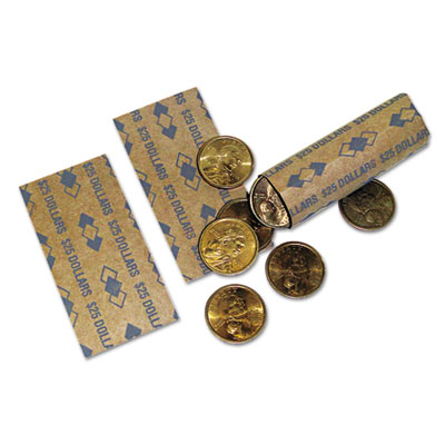 Tubular Coin Wrappers, Dollar Coins, $25, Pop-Open Wrappers, 100
