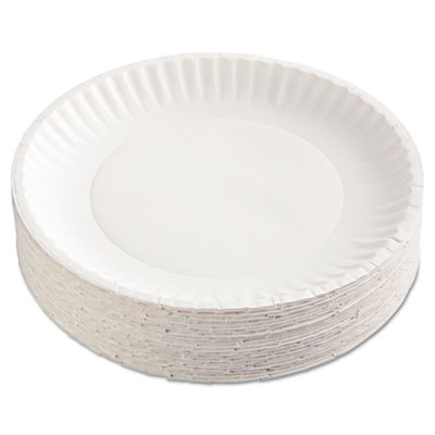 "Paper Plates, 9"" dia, White, 100/Pack, 12 Packs/Carton"