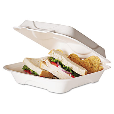 Sugarcane Compostable Clamshell Food Container, 3 x 8 x 8, White